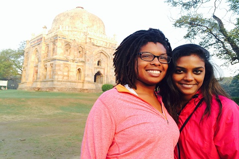 Two female students in India