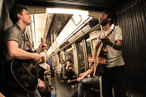 Musicians on Train in France