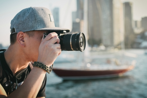 Photographer in harbor